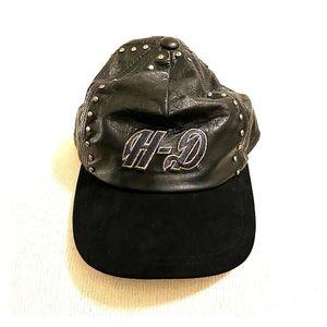 Vintage Harley Metal Studded Leather Baseball Hat